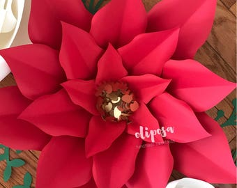 Hardcopy Poinsettia Template, Paper Flowers, Poinsettia Paper Flower