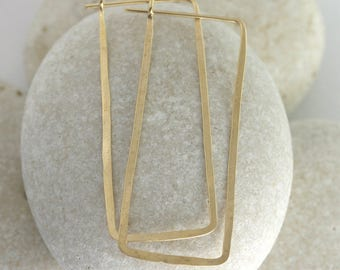 Large rectangle hoops hammered from solid 14K or yellow gold fill