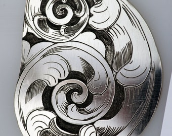 Nickel Silver Scroll Pendant, Hand Engraved, Hand Made