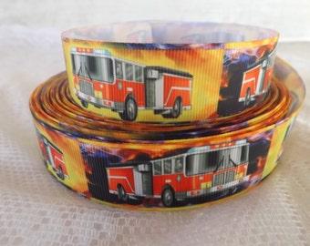 "Fire truck ribbon fire engine ribbon 1"" firetruck grosgrain ribbon fire fighter ribbon"