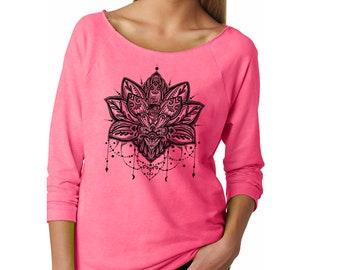 Slouchy Sweatshirt, Lotus Flower Sweater, Lotus Sweatshirt, Yoga, Zen, Buddhism, Lightweight 3/4 Sleeve Raw Edge Raglan Ringspun Cotton