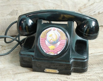 Vintage Soviet  rotary telephone / 1967 year /  Interior Design Made in USSR Vintage Factory Intercom / vintage phone / Old Dial Desk Phone