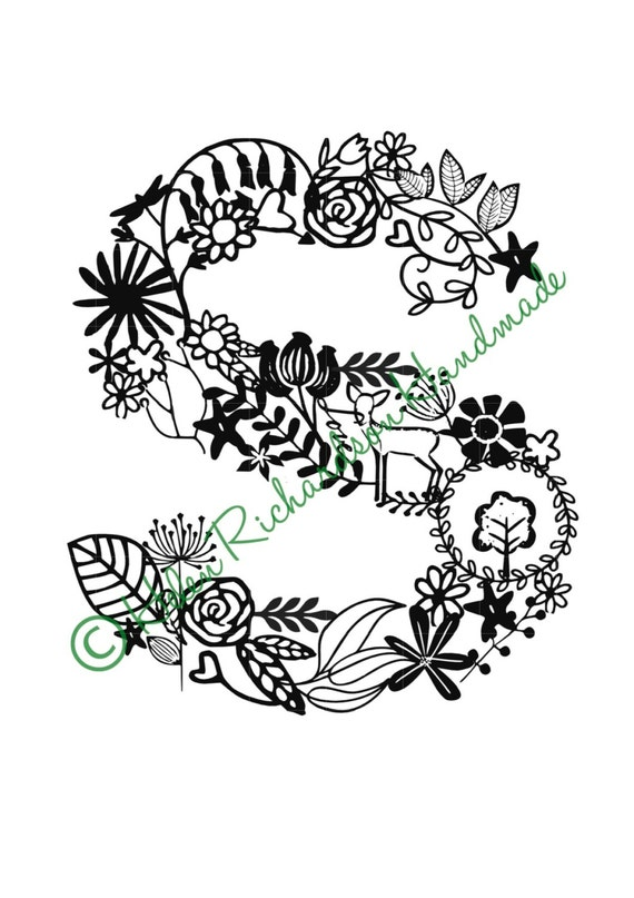 Floral Alphabet letter S paper cutting template for PERSONAL