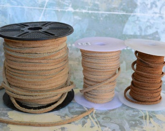 5 Meters of 3mm x 2mm Genuine Natural Split Suede Leather Flat Lace