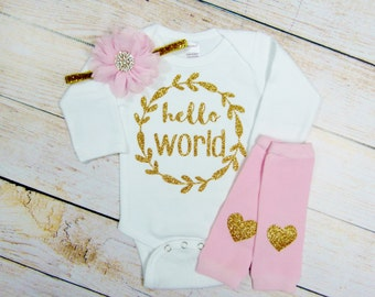 Newborn Girl Take Home Outfit Hello World Newborn Girl Headband Leg Warmers Baby Girl Outfit Clothing Gift Coming Home Set Baby Shower Gift