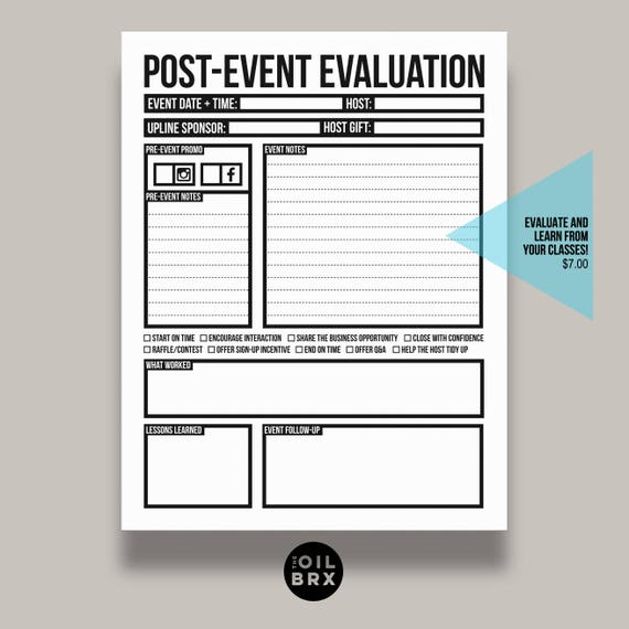 PostEvent Evaluation Form For Home Classes Or Parties