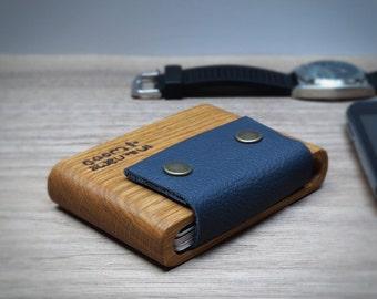 """Wooden Wallet """"Trou"""", Oak Wood, Leather Strap"""