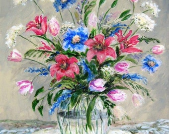 Spring Bouquet on Lace, Hand signed print by Shirley Lowe, 20x24 blue, and pink floral, floral still life, bedroom art, living room art