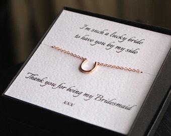 Bridesmaid necklace, horseshoe necklace, bridesmaid gift, bridesmaid jewelry, lucky charm, lucky charm necklace, bridesmaid jewellery