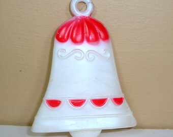 Vintage Red White Bell Christmas, Ornament, Holiday Decor, Tree Ornament, Plastic, Made in Hong Kong (594-12)