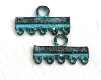 5 Strands connector, Verdigris Green Patina End bar, patinated Jewelry findings, greek metal casting - 2Pc - F384