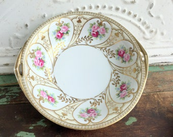Antique Hand painted Nippon Porcelain Bowl Pink Roses Flowers Gold Gilt Shabby Decor