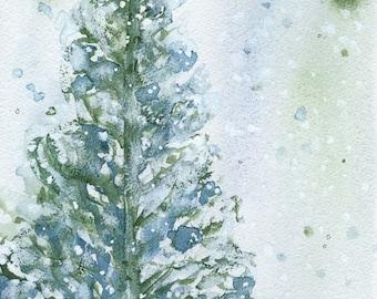 Snowy Fir Tree Holiday Art Print, Christmas Decor, Winter Landscape Print