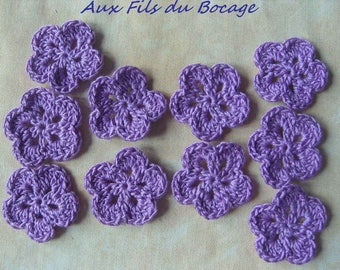 Flower crochet appliques set purple cotton 10.