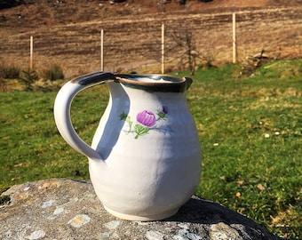 Milk jug pitcher thistle  design ceramic , stoneware pottery