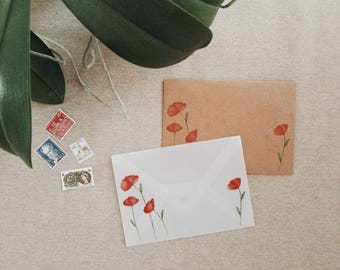 Poppy envelope set