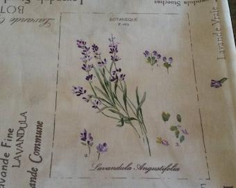 """Coupon de tissu fleuri 50 X 50 cm / motifs """"lavande"""" / planche botanique / herbier de Provence"""