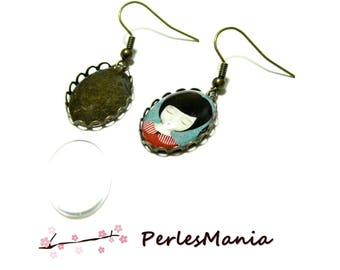 20 pieces: 10 earring hook wave 13 by 18mm ID27417 BRONZE and 10 cab
