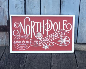 1'x2' North Pole Christmas wood sign farmhouse decor