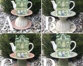 Teapot whimsy - gift for postal worker - bird feeder garden totem - teapot garden decoration - ceramic yard art - retirement gift - Dad gift