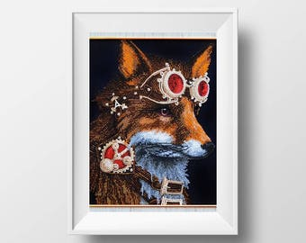 fox steampunk embroidery kit DIY needlepoint gift idea modern embroidery pattern stitching kit cog embroidery design art embroidery gift