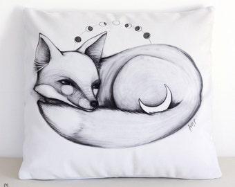 SALE: Moon Fox cushion cover. Decorative pillow. Velvet pillow. Woodland. Animal illustration. Australian gift with original art by flossy-p