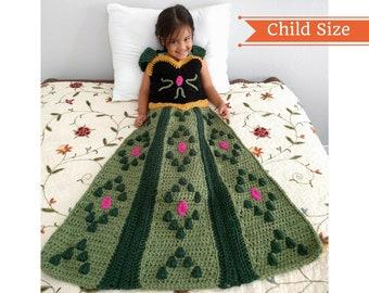 Princess Dress Blanket, Crochet Blanket Pattern, Anna Dress Blanket, Princess Crochet Pattern, Princess Blanket, Elsa Crochet, Child size