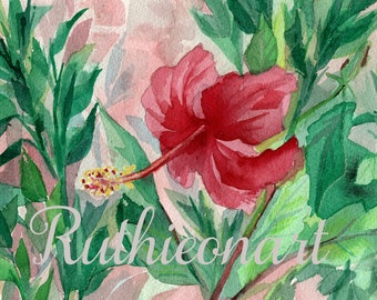 Red Hibiscus Watercolor Print