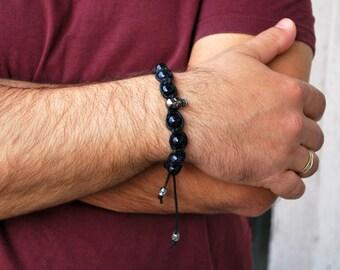 Mens bracelet , Blue Sunstone bracelet , Beaded bracelet , Boyfriend gift , Skull bracelet , For men , Anniversary gift , Shamballa