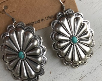 Silver Concho Earrings with Turquoise