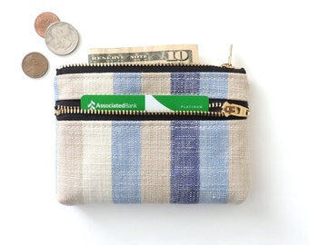 Blue Stripe Wallet Coin Purse Double Zipper Pouch