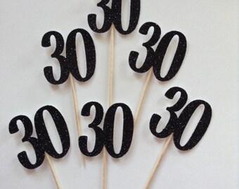 12 x 30th Birthday Cupcake Toppers, Black Glitter 30th Birthday Cake Toppers, Black and Gold Party Decor, 40, 50, 60 ,70