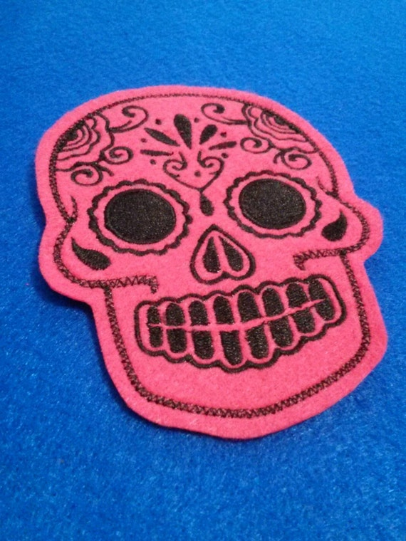 Mexican Day of the Dead Sugar Skull Patch Embroidery black and limeDay of the Dead, Sugar Skull embroidery patch hot pink and black iron on