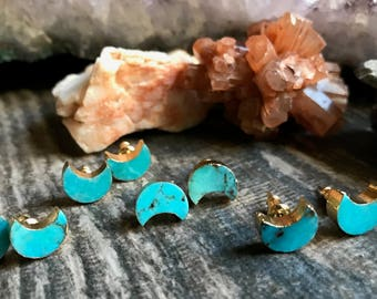 Turquoise Stud Earrings Gold,Turquoise Studs,Genuine Turquoise Stud Earrings,Stud Earrings,Gold Turquoise Studs,Crescent Moon Studs, Studs