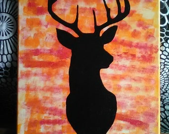 Deer Silhouette Canvas Art