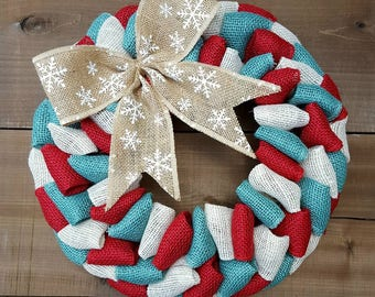 Christmas burlap wreath~ Winter wreath~ Christmas wreath~ red and turquoise wreath~ snowflake wreath~ burlap wreath