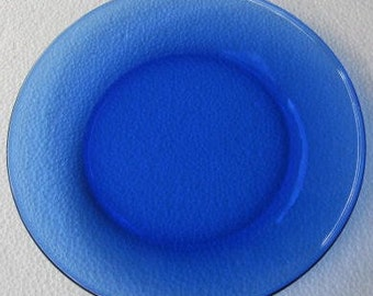 """Arcoroc Cobalt Blue Thick Glass Side Plate 7 1/2""""- New- Made In France"""
