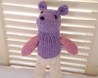 Teddy Bear Stuffed Animal Knit Toy/ Purple, Pink, And Cream Amigurumi Plush Doll/ Handmade Toys/ Stuffed Bears/ Gift For Kids