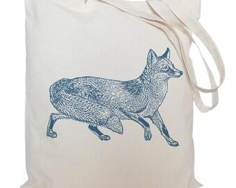 Tote bag/ drawstring bag/ blue fox/ cotton bag/ material shopping bag/ animal/ shoe bag/ market bag