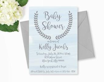 Blue Watercolor Baby Shower Invitation, Baby Shower Invitation, Printable, water color shower, Editable, Simple, Classic invite