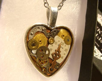Clockwork Heart with Vintage Watch Parts Steampunk Style Necklace (2431)