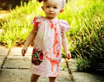 Pocket Peasant Top and Dress Sewing Pattern Tutorial by Whimsy Couture  0m - 12 girls PDF Instant