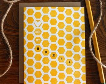 letterpress bee my honey greeting card honey comb pattern yellow black be mine love valentine