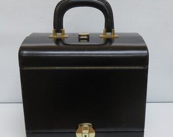 Vintage Le Tanneur French Black Leather Vanity Case - Le Tanneur Train Case - Jewellery Case - Make-Up Case