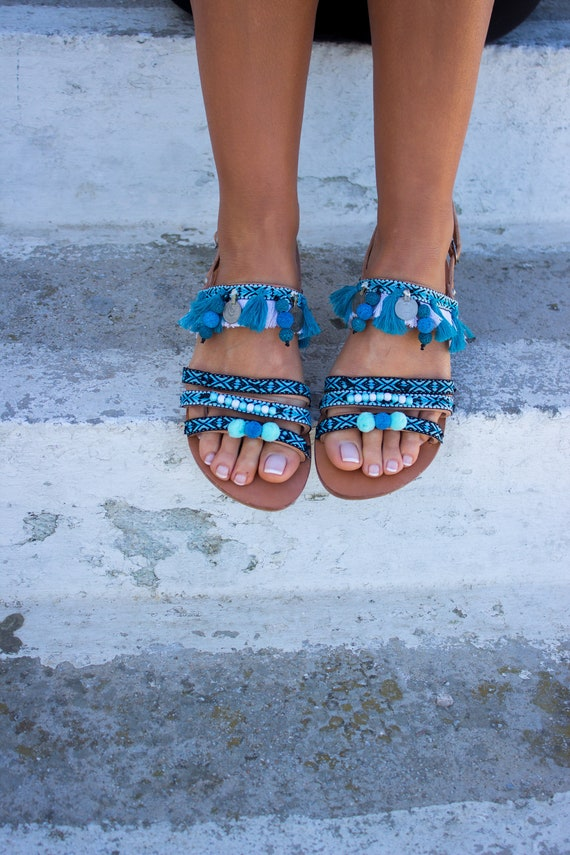 Tassels RiRiPoM Greek Sandals Boho ''Palmira'' Sandals Sandals Sandals Sandals Pom Gypsy Sandals Pom Fringe Leather Sandals OO04wq