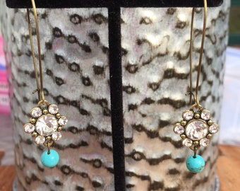 Crystal Flower & Turquoise Dangle Earrings