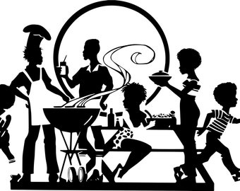 Black Family Picnic Barbecue Having Fun Afro Hair African American Kids Female Male SVG .EPS .PNG Vector Clipart Digital Circuit Cut Cutting