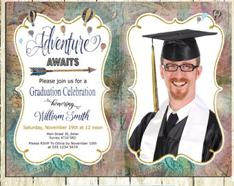 Photo Graduation Invitation Boy Printable Graduation Party Invitation Graduation Announcement Graduation Celebration Adventure awaits Map