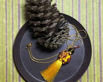 Yellow Beaded Silk Tassel Pendant Necklace