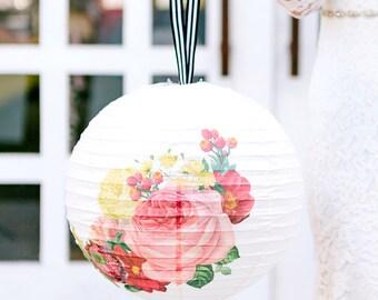 Botanical Paper Lanterns | Floral Wedding Lantern Lights Light Decor Rose Floral Bridal Shower Botanical Wedding Shower Garden Tea Party